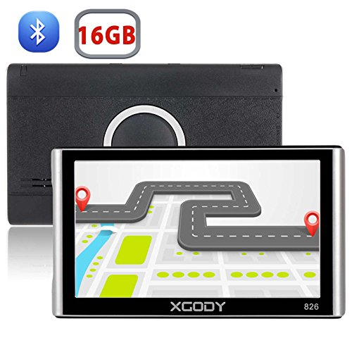 Xgody 826BT Car Trucking GPS Navigation System 16GB 7 Inch Touch Screen Vehicle GPS Navigator Spoken Turn-By-Turn Lifetime Map Updates Speed Limit Displays Support Bluetooth AV/IN by XGODY