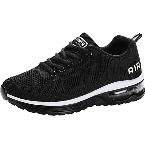 JARLIF Women's Lightweight Athletic Running Shoes Breathable Sport Air Fitness Gym Jogging Sneakers (6.5 B(M), Black) - Breathable Air
