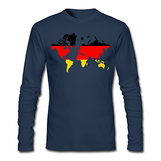 Mens world map with germany flag long sleeve cotton t shirt mens world map with germany flag long sleeve cotton tee gumiabroncs Gallery