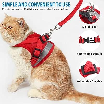 Idepet Arnés y correa para gatos para caminar Arnés de chaleco de malla suave ajustable para gatos pequeños medianos grandes Mascotas Gatito Cachorro ...