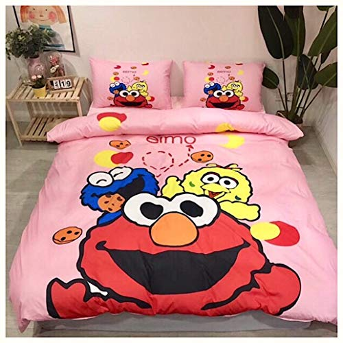 Peachy Baby Featuring Sesame Street Elmo Bedding Sheet Set Queen【Free Express Shipping】 Cute Girly Pink Cartoon 4 Pieces Bed Sheets