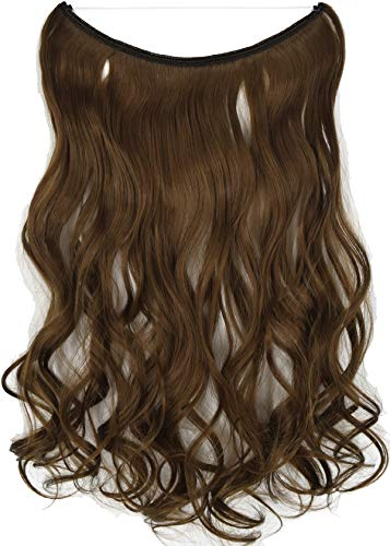 """TOPREETY Wavy 22""""100gr Halo Hair Extensions Elastic Invisible Wire Attached (Medium ginger brown #10)"""
