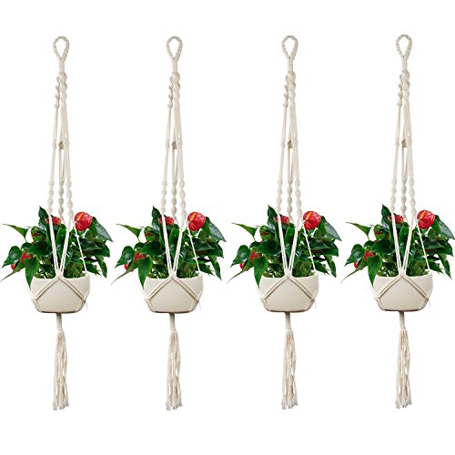 Accmor Newest Macrame Plant Hanger Set of 4, 43 Inch 3 Legs Strong Handmade 100% Cotton Flower Pot Plant Holder with Key Ring for Indoor Outdoor Decorations - 3 Leg High Stand
