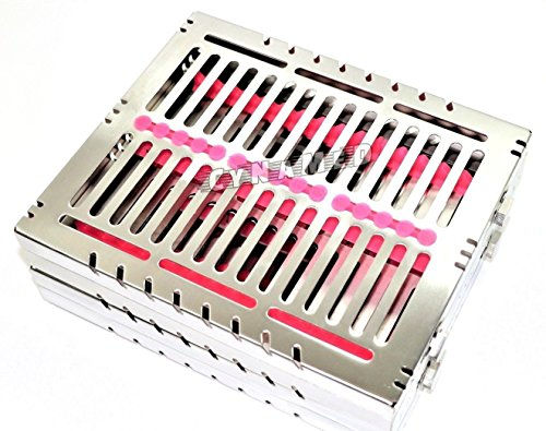2 GERMAN DENTAL AUTOCLAVE STERILIZATION CASSETTE RACK BOX TRAY FOR 15 INSTRUMENTS PINK ( CYNAMED ) by CYNAMED