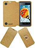 Acm Designer Rotating Flip Flap Case for Micromax Bolt S302 Mobile Stand Cover Golden