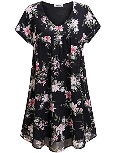Cute Party Dresses for Women,Modest Short Sleeve Elegant V Neck Floral Shift Dress Plus Size Pleated Ruffle Homecoming Club Dress Juniors Casual Formal Teens Girls Evening Maternity Dress Black XXL