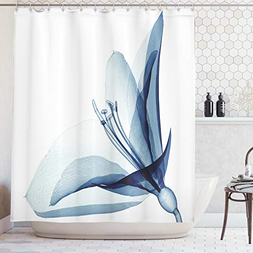 Ambesonne Xray Flower Decor Collection, X-ray Inspired Transparent Image of Amaryllis Flower Nature Decorating Artwork, Polyester Fabric Bathroom Shower Curtain, 75 Inches Long, Teal White