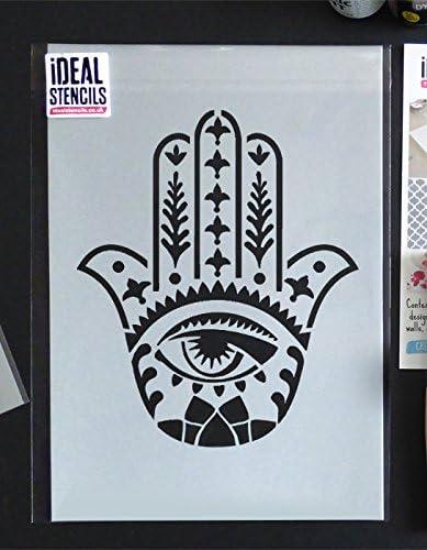 S// 17X20CM Khamsa semi transparent pochoir Hamsa Main Pochoir |Islamique Symbole| R/éutilisable D/écoration Murale DInt/érieur Peinture Murs Tissus /& Meubles Art /& Artisanat Pochoir