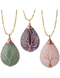 Vintage Tree of Life Wire Wrapped Copper Teardrop Natural...