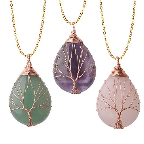 ZHEPIN 3pc Vintage Tree of Life Wire Wrapped Copper Teardrop Natural Gemstones Pendant Necklace,with Gift Box