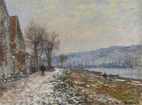 The Polyster Canvas Of Oil Painting 'Claude Monet - The Riverbank At Lavacourt, Snow, 1879' ,size: 12x16 Inch / 30x41 Cm ,this High Definition Art Decorative Canvas Prints Is Fit For Garage Gallery Art And Home Artwork And Gifts (Necklace Jasper Fabric)