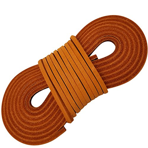 TOFL Leather Boot Laces-Easy Sizing Cut to Fit (Orange) ()