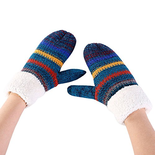 NRUTUP Women Warmer Stripe Cashmere Thicken Knitted Finger Thermal Skiing Gloves Mitten (Blue,Free Size)