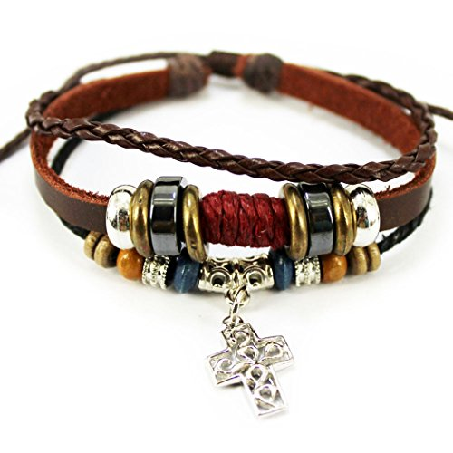 Making Bow And Arrow For Costume (MORE FUN Art Silvery Metal Cross Leather Bracelet Brown Braided Rope Handmade Adjustable Bracelet)