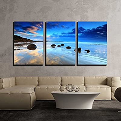 3 Piece Canvas Wall Art - Beautiful Morning Reflection at Moeraki Boulders, South Island of New Zealand - Modern Home Art Stretched and Framed Ready to Hang - 16