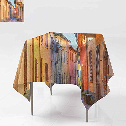 AndyTours Fashions Table Cloth,Italy,Narrow Paves Street Among Old Houses in Town Serralunga DAlba Piedmont,High-end Durable Creative Home,54x54 Inch Pale Orange Brown Pink