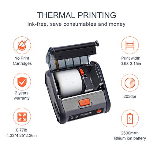 JINGCHEN Portable B3 Thermal Label Printer, Android & iOS, Glasses, Jewelry, Bracelets, Antiques, Barcode.(0.98x1.18+1.77in) 100 Labels/roll, 1 roll for Free by JINGCHEN (Image #5)