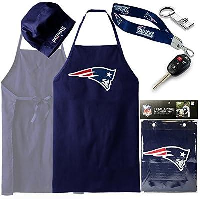 ( BUNDLE PACK ) New England Patriots Apron Hat Set + Wristlet, Barbeque, BBQ Apron ( Bonus Bottle Opener )