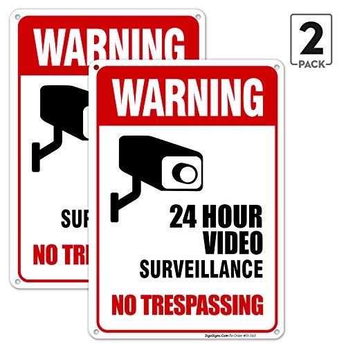 Video Surveillance No Trespassing Sign, CCTV Security Camera, 10×14 Heavy 0.40 Aluminum, UV Protected, Weather/Fade…