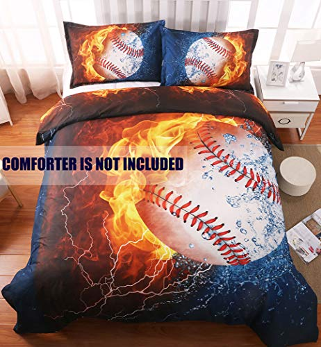 giveuwant 3D Sports Baseball Microfiber Duvet Cover Twin(59x83 Inch), 2 Pieces (1 Pillowcase, 1 Duvet Cover) 3D Baseball Bedding Set, Soft Sports Comforter Cover (No Comforter) for Boys, Kids, Teens