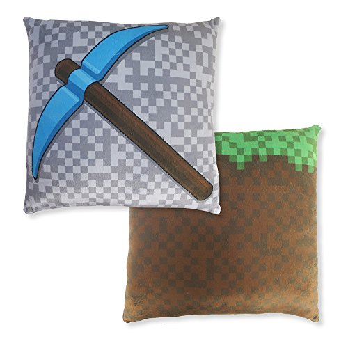 Blue Orchards Kids' 12 Throw Pillow Cover 2-Piece Set (Grass Block & Diamond Pickaxe) Mining Fun Pillowcase, Minecraft and Video Game Inspired, Room Decoration, Fun Christmas or Birthday Gift