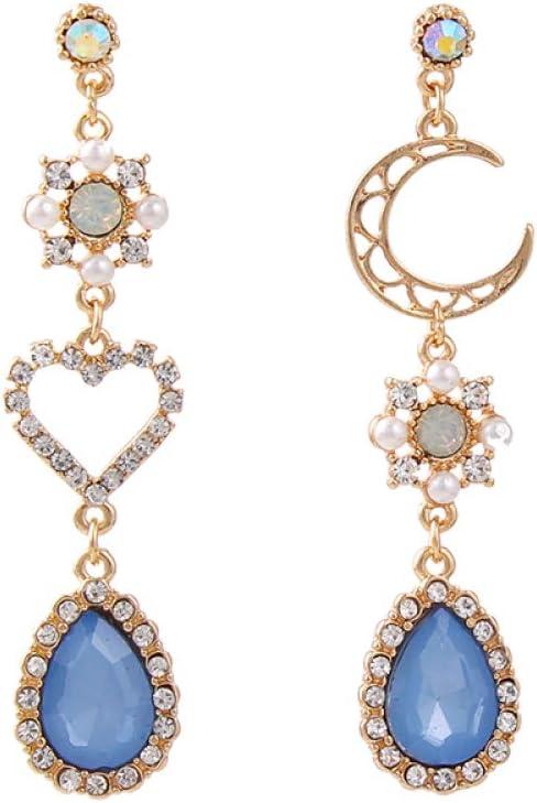 DFQQIANG Dulce Asimetría Brillante Rhinestone Amor Corazón Luna Pendientes para Mujer Largo Azul Borla De Cristal Cuelga