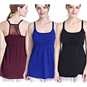 SUIEK 3PACK Nursing Top Tank Cami Maternity Shirt Sleep Bra for Breastfeeding (X-Large, Black + Royal Blue + Burgundy (3/Pack))