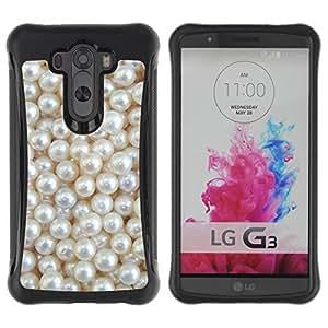 WAWU Funda Carcasa Bumper con Absorci??e Impactos y Anti-Ara??s Espalda Slim Rugged Armor -- pearls white rich pearl jewel gem -- LG G3