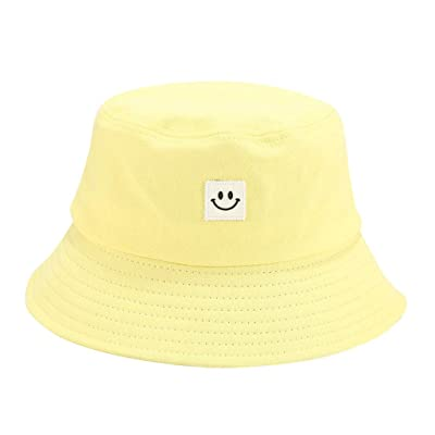 Sttech1 Womens Solid Color Cotton Caps Smile Printed Sunscreen Fisherman Hat for Hiking, Outdoor Yellow: Clothing