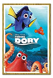 Finding Dory Disney Pixar Characters Poster Magnetic Notice Board Oak Framed - 96.5 x 66 cms (Approx 38 x 26 inches)