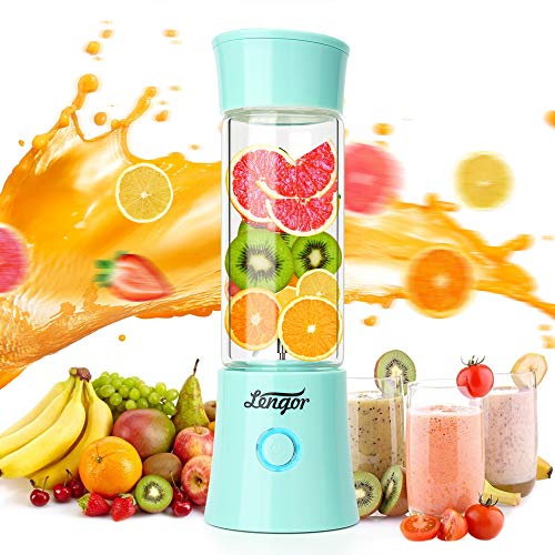 Portable Blender, 【2019 Newest】Lengor USB Rechargeable Smoothie Personal Blender Fruit Mixer Six Blades in 3D, 480ml Glass Juicer Cup with 4000mAh,Travel Blender, MINI Mixer Juicer Cup(FDA BPA Free) (Best Blenders For Smoothies 2019)