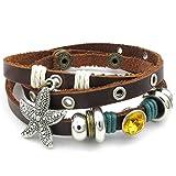 AnaZoz Brown Mens Womens Leather Bangle Bracelet Starfish