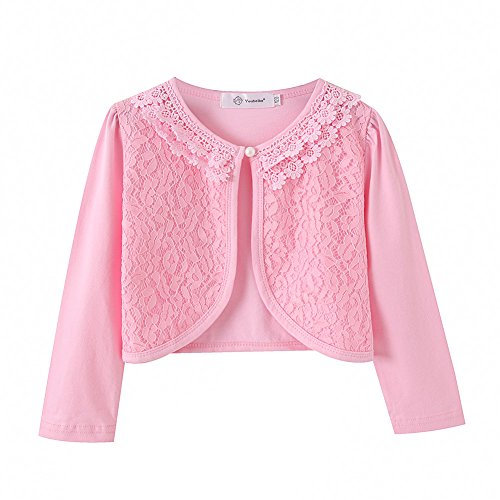 ZHUANNIAN Little Girls' Long Sleeve Lace Bolero Cardigan Shrug(4-5T,Pink)