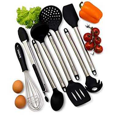 Kitchen Utensils - 8 Piece Cooking Utensils - Nonstick Utensil Set - Silicone and Stainless Steel Kit - For Pots and Pans - Serving Tongs, Spoon, Spatula Tools, Pasta Server, Ladle, Strainer, Whisk