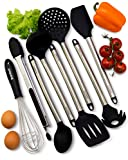: Kitchen Utensils - 8 Piece Cooking Utensils - Nonstick Utensil Set - Silicone and Stainless Steel Kit - For Pots and Pans - Serving Tongs, Spoon, Spatula Tools, Pasta Server, Ladle, Strainer, Whisk