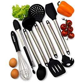 Kitchen Utensil Set - 8 Piece Non-Stick Cooking Utensils & Spatulas - Silicone & Stainless Steel - Safe for Pots & Pans - Serving Tongs, Spoon, Spatula Tools, Pasta Server, Ladle, Strainer, Whisk 9 ✅ COMPLETE SET OF 8: Professional or home cook, this set of 8 kitchen utensils gives you all the tools to complement your dishes and make cooking much easier. The set includes tongs, turner spatula, flex spatula, pasta server, serving spoon, deep ladle, 2 stage whisk and a strainer. ✅ LASTS A LIFETIME: The most durable utensils set in the market features thick handles designed using top-grade 304 stainless steel, and utensil heads made out of durable silicone. Even with daily use, they're designed to not bend like plastic utensils, not break like wooden kitchen tools, and not rust like other metallic utensils. ✅ PROTECT YOUR EXPENSIVE PANS: The non-scratch silicone heads pair great with your expensive non-stick pans, pots and bakeware, ensuring that the cookware surface is not scratched or dented; they're the perfect tools to extend the life of all your kitchen pans.