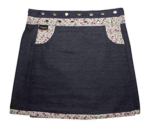 Jupe dames Sunsa, Jupe Jeans, Jupe dt, Jupe Portefeuille, Mini-Jupe, Jupe Reversible, 2 en 1, Taille Ajustable 15656