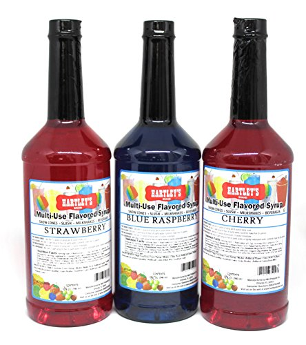 Hartley's Snow Cone Flavor Variety Pack: CHERRY + STRAWBERRY + BLUE RASPBERRY | Commercial Grade Multi-Use Syrups | Shaved Ice – Slush – Milkshakes – Soda | 3 1 Liter Bottles ✡ OU Kosher (Flavoring Snow Cone)