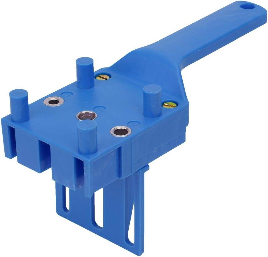 Gu/ía para trabajar la madera Localizador de orificios Agujero de mano de pl/ástico Port/átil Perforadora de bricolaje Carpinter/ía Localizador de carpinter/ía Conexi/ón de orificio Localizador azul
