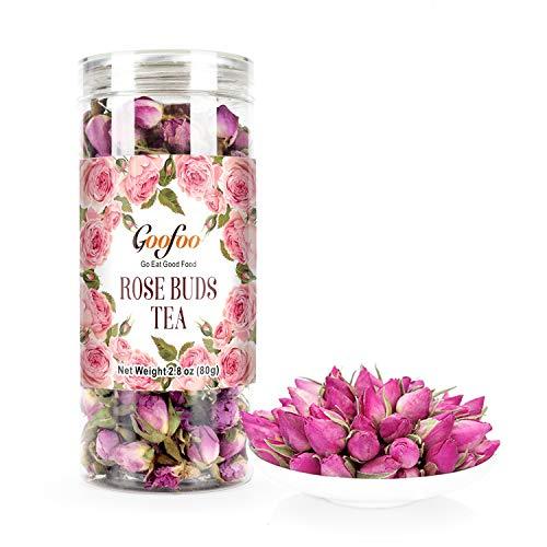 Goofoo Premium Dried Rose Buds Flower Herb Loose Leaf Decaffeinated Fragrant Natural Healthy Herbal Tea 2.8 oz ()