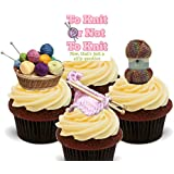 Knitting, To Knit or Not to Knit . . . Funny Edible Cupcake Toppers - Stand-up Wafer Cake decorations by Made4You