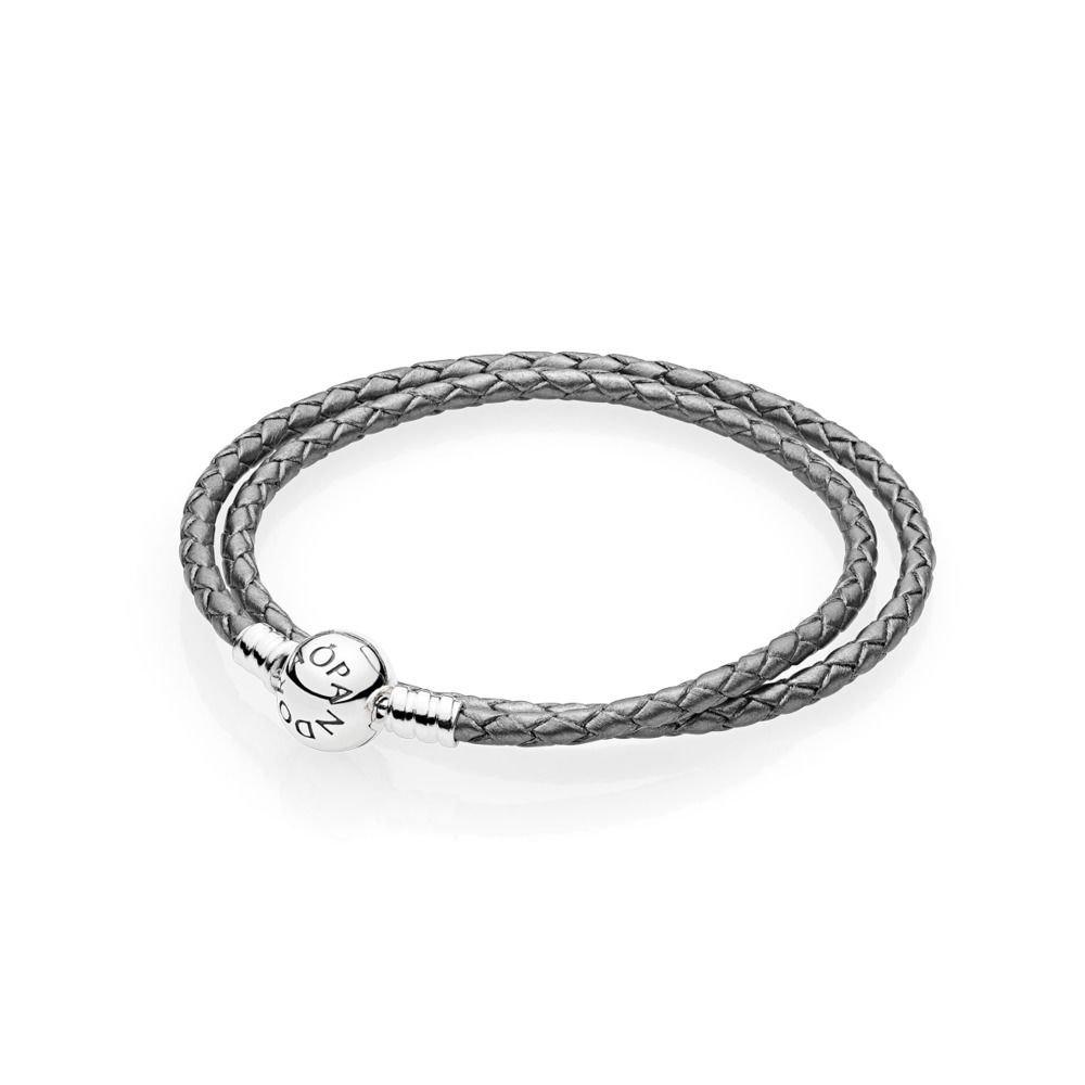 PANDORA Silver Grey Braided-Double Leather Charm Bracelet, 590745CSG-D1 by PANDORA