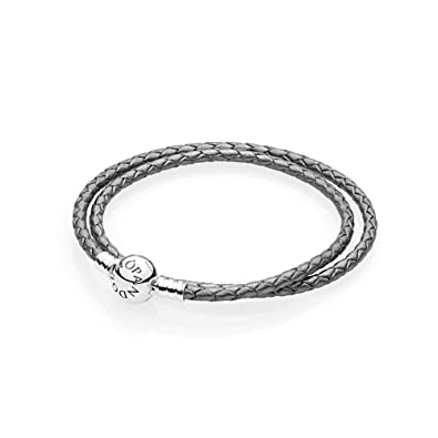 588928802 PANDORA Silver Grey Braided-Double Leather Charm Bracelet, 590745CSG-D1