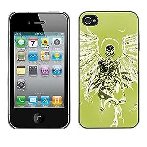 GOODTHINGS Funda Imagen Diseño Carcasa Tapa Trasera Negro Cover Skin Case para Apple Iphone 4 / 4S - ángel de la muerte verde alas verde del cráneo