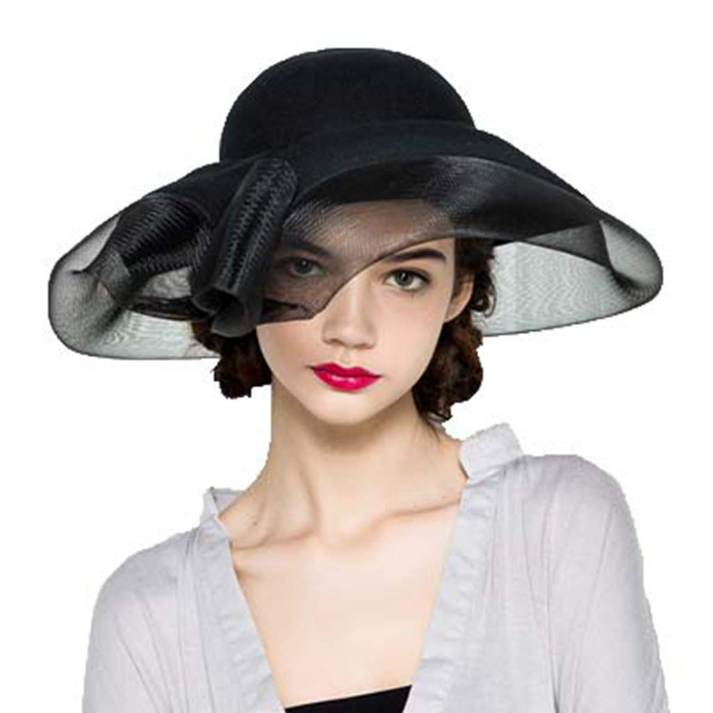 Womens Kentucky Derby Hat Vintage Wide Brim Sun Hats Church Racing Wedding Fascinators