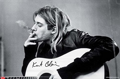 Poster Kurt Cobain  With Guitar Black & White Music 36 x 24i