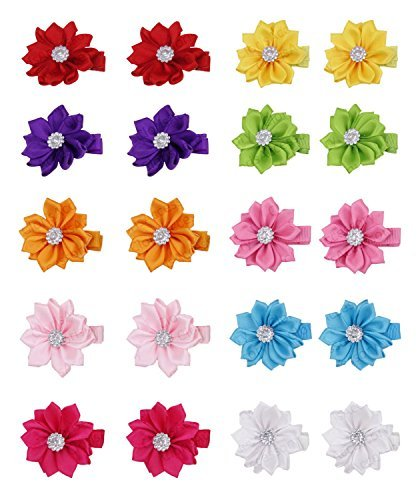 Grosgrain Ribbon Wrapped Alligator Baby Hair Bow Flower Clips (10 (Infant Pigtail)