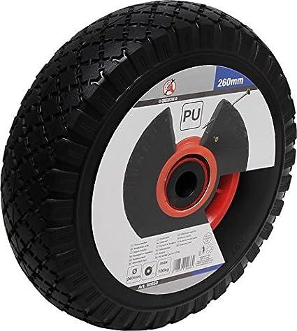 Fuerza Muñeco 80650 PU de rueda para carretilla/Carro, Rojo/Negro, 260