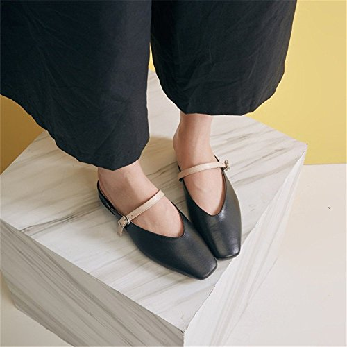 Femenino Zapatillas Pierna de EU perezosas Negro Plano Color tamaño Negro 1 Cuero FangYOU1314 39 Media de Zapatos Exteriores 3 wgBdwqv
