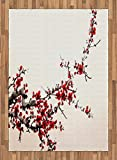 Art Area Rug by Ambesonne, Elegance Cherry Blossom Sakura Tree Branches Ink Paint Stylized Japanese Pattern, Flat Woven Accent Rug for Living Room Bedroom Dining Room, 5.2 x 7.5 FT, Red Cream Brown